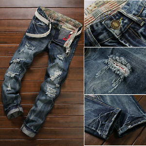 Men-039-s-Stretchy-Ripped-Skinny-Biker-Jeans-Destroyed-Taped-Slim-Fit-Denim-Pants
