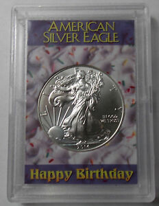 2014 Silver Eagle Dollar Bu In 2x3 Happy Birthday Coin
