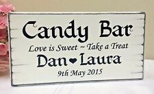 Caramelle personalizzate barra NOZZE DOLCI TAVOLA firmare Shabby Vintage FREE STANDING