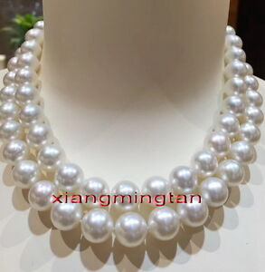 """huge 35/"""" 13-12MM SOUTH SEA NATURAL White PEARL NECKLACE 14K GOLD  CLASP"""