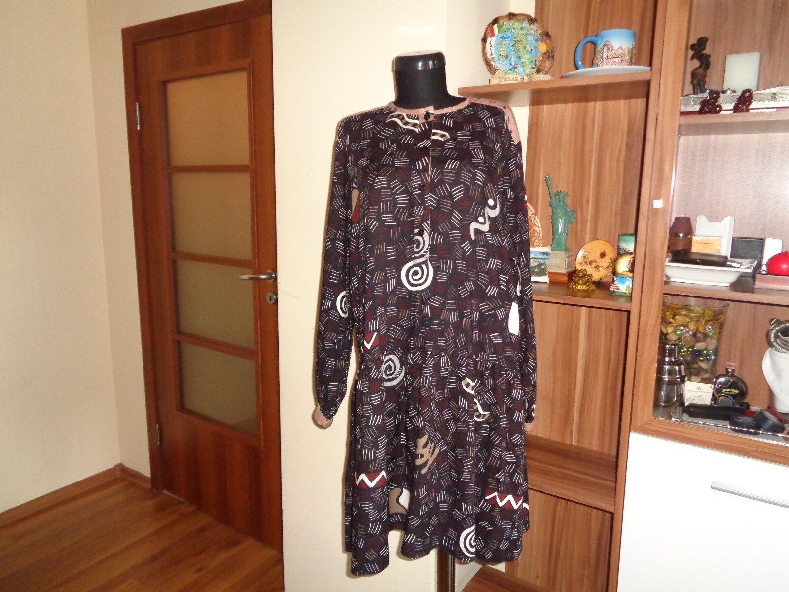 GUDRUN SJODEN VISCOSE GEOMETRIC PRINT PRINT PRINT LAGENLOOK DROP WAIST TUNIC DRESS-SIZE M 7ac21a