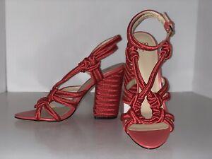 CAbi-Tiptoe-Sandals-Sz-7-Poppy-Red-Nautical-Rope-Ankle-Strap-Block-Heel-NEW-139