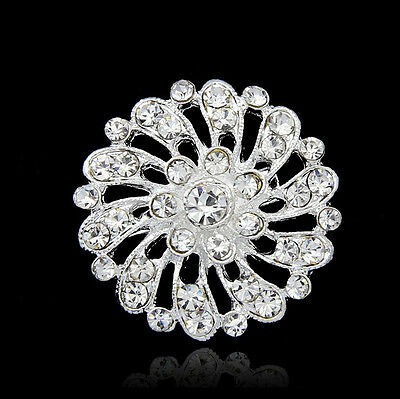 Bridal Wedding Bouquet chic Rhinestone Crystal Flower Silver Charm Brooch Pin