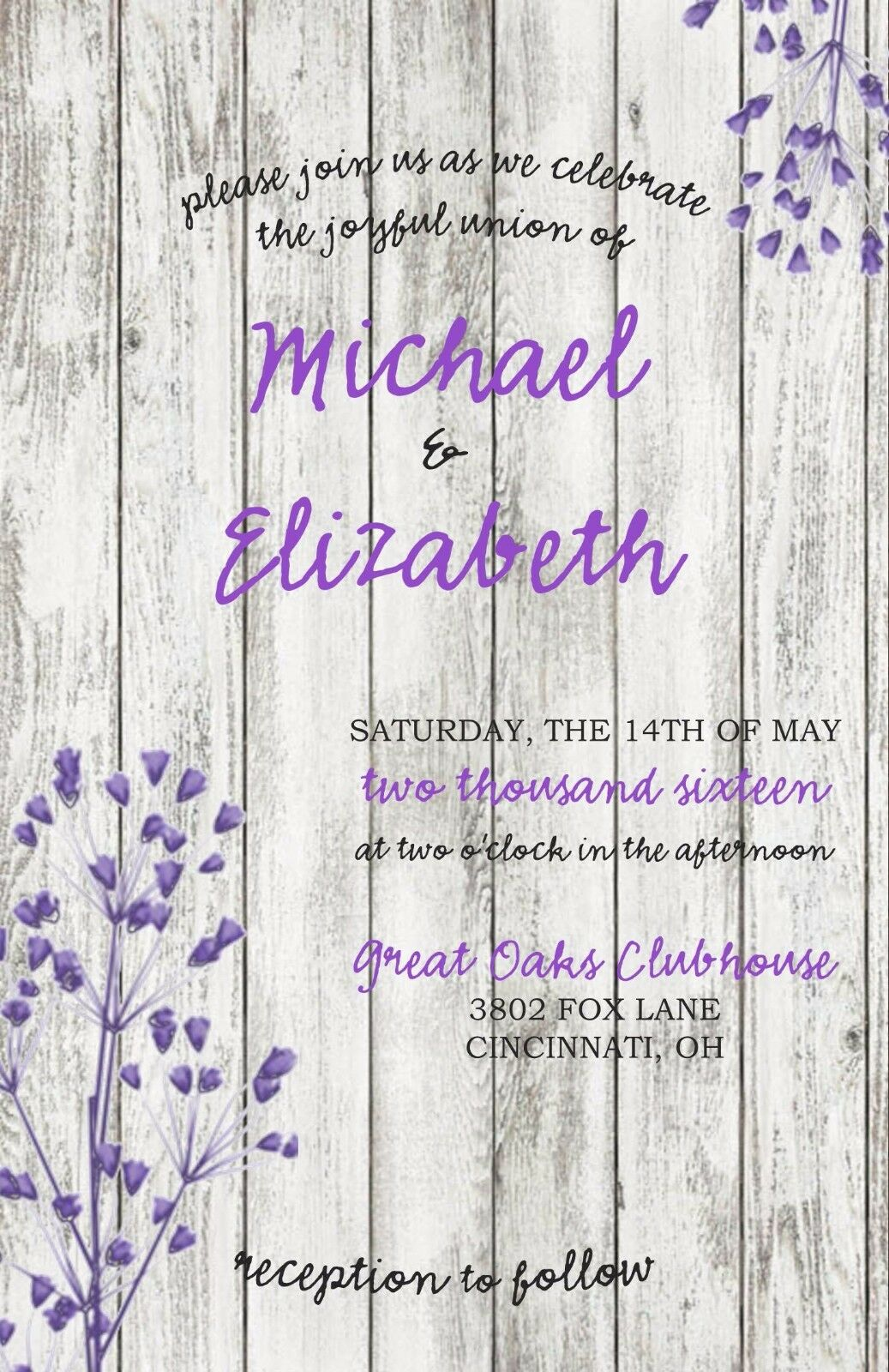 Wedding Invitations Weiß Wood & Flower 50 Invitations & RSVP Cards Any Farbes