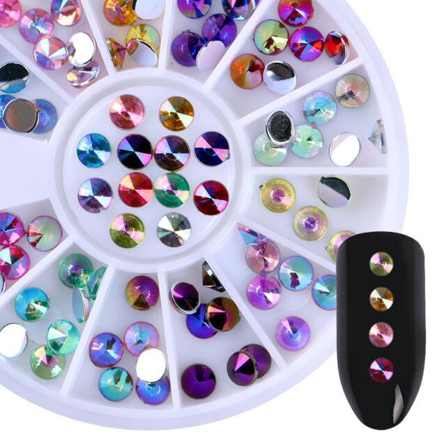 1 box 3D Strass Nagel Sticker Studs Glitter Farbig Nagel Kunst Dekoration UV Gel