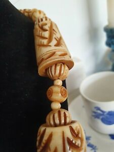 Vintage-Large-Chunky-Carved-Bovine-Bone-Bead-Necklace-Tribal-Boho-Superb-Quality