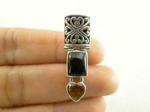 Black-Onyx-Citrine-Heart-Ornate-925-Sterling-Silver-Pendant