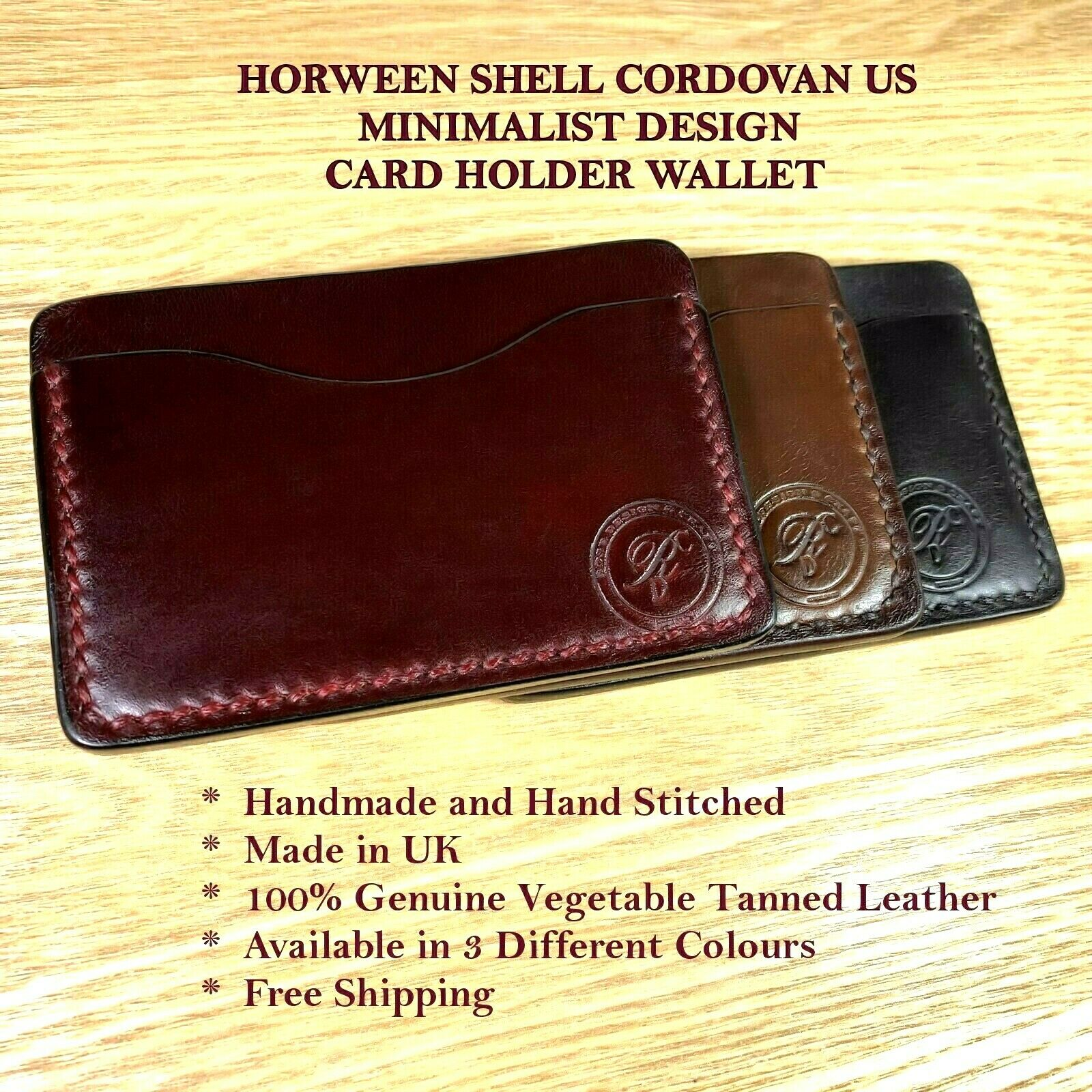 Personalised Handmade Minimalist Horween Card Holder Wallet Real Leather Gift