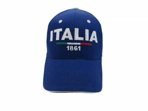 Cappello-Italia-ricamato-misura-58-cm-regolabile-1861-anno-nascita-Stato-Blu