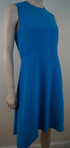 Neck Royal 42 Dress Round Sz Sleeveless Joseph Uk14 line Panelled Blue A 7pxqvwdt