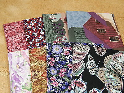 Assorted Red & Blue Series Cotton Quilting Fabric 8 Fat Quarters Lot 1