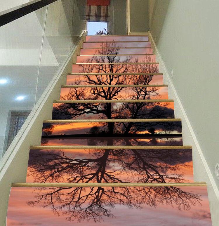 3D Sunset arbres 692 contremarches Décoration Photo Murale Autocollant Vinyle Papier Peint US