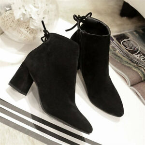 d9f3c12152 Women's Suede High Heel Martin Ankle Short Boots Pointed Toe Chunky ...