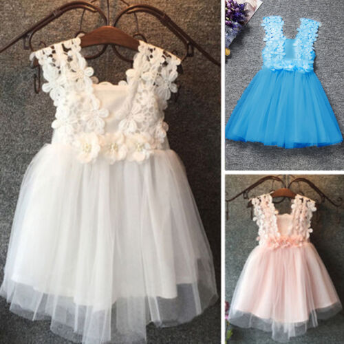 Kids Girls Chiffon Princess Lace Tulle Tutu Party Pageant Wedding Dress Holiday