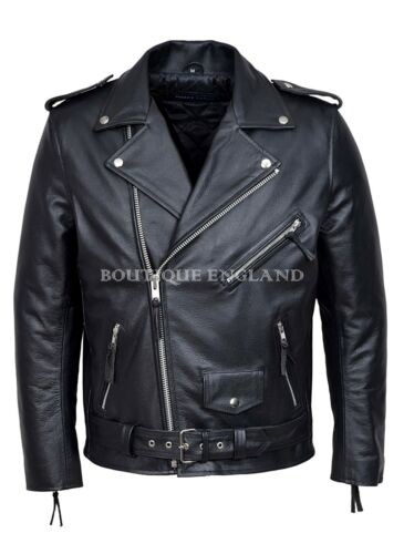 /'BRANDO BLACK/' Men/'s Biker Jacket Black CLASSIC Cowhide Real Leather Jacket MBF