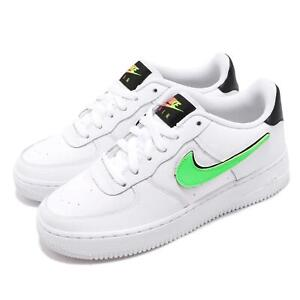 Details about Nike Air Force 1 LV8 3 GS White Black Green Change Swoosh  Youth Shoes AR7446-100