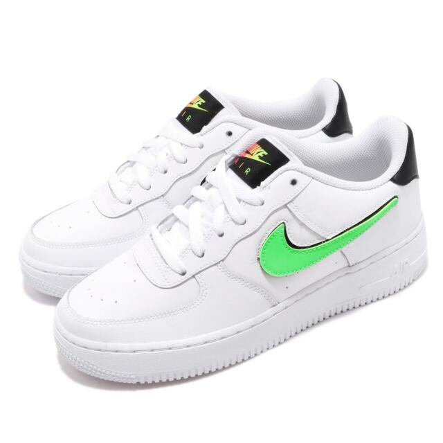 Nike Air Force 1 LV8 3 GS White Black Green Change Swoosh Youth Shoes AR7446 100