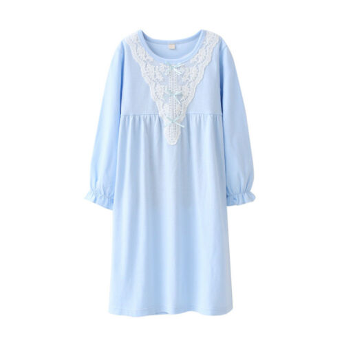 Bambine Bambini Pigiama Camicia da Notte manica lunga in Pizzo Giarrettiera 100/% Cotone Camicia Da Notte