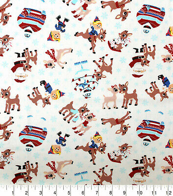 RUDOLPH FABRIC ISLAND OF MISFIT TOYS~CLARICE~BUMBLE~ELF~SANTA BY THE HALF YARD