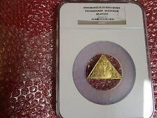 Isle of Man Bronze king Tutankhamen Death Mask NGC MS69 gold gilt tut pyramid
