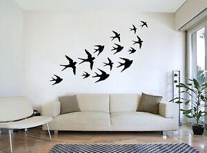 Flying-hirondelles-troupeau-d-039-oiseaux-art-mural-silhouette-Decal-Autocollant-qualite-NEUF