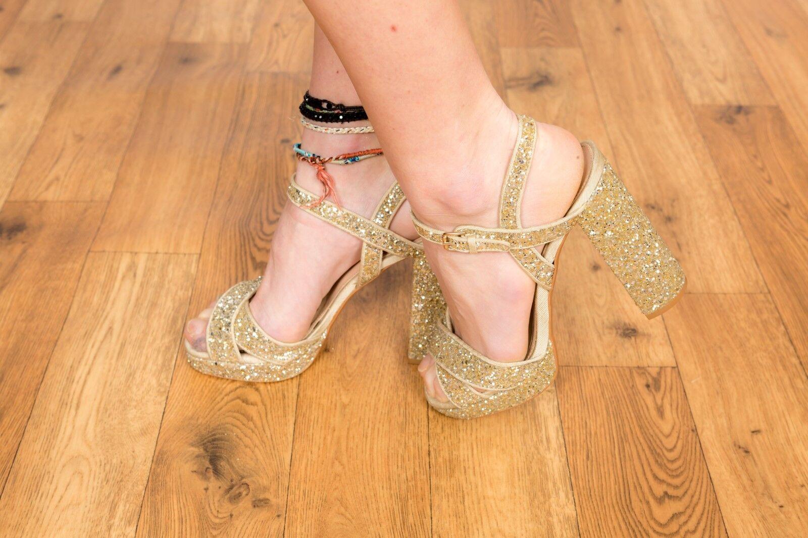 gold glitter TOPSHOP platform heels