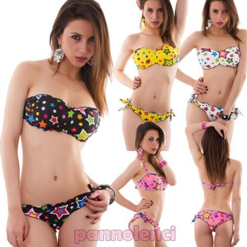 Bikini donna costume da bagno mare fascia stelle stars due pezzi nuovo SE401