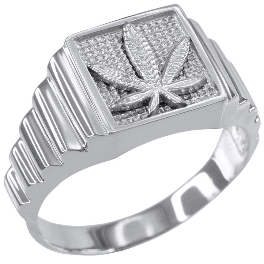 14k White gold Marijuana Square Mens Ring