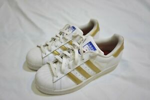 Details about Adidas Youth's White/Gold Superstar Ortholite Lace-Up Shoes Size 4 US