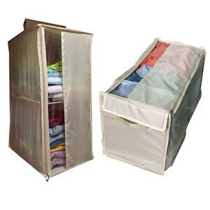 New Closet Organizer Portable Storage Bins Bag Hanger Clothes Wardrobe Shelf Ebay