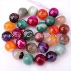 "Aagte Faceted Multicolor Stripe Round Gemstone Loose Beads 15"" 6mm 8mm 10mm 12mm"