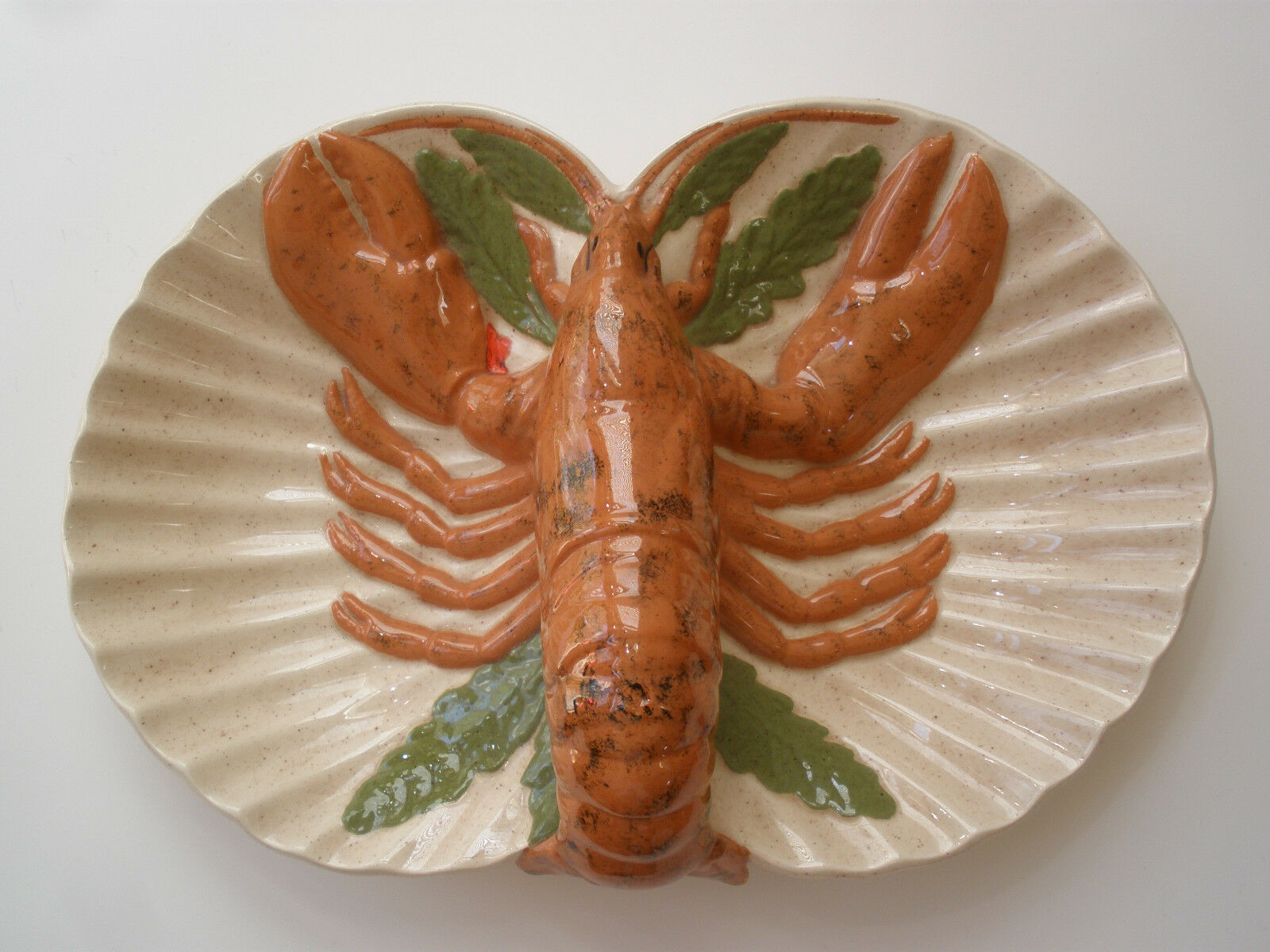 LARGE LOBSTER CERAMIC PLATTER UNIQUE HOLLAND MOLD 1980 VINTAGE DECOR MADE IN USA