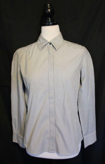 SPORTSCRAFT ~ White & Grey Pinstriped Stretch Cotton Long Sleeve Shirt 10