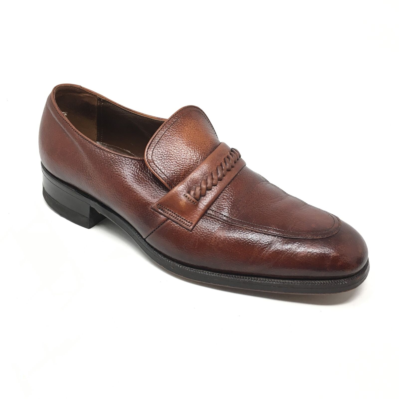 Men's VINTAGE Florsheim Loafers Brown Dress Shoes Size 7.5D Brown Loafers Grain Leather P5 227e85
