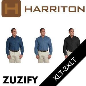 45a12ea9ceb Image is loading Harriton-Mens-Long-Sleeve-Denim-Button-Down-Shirt-