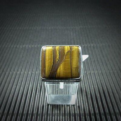 Ring Gr. 59, Silber 925, Mit Einem Tigerauge Cabochon Aus Indien 100% Original