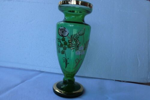Bohemia  Vase Blumenvase  Glasvase, Dekogefäß,   grün   Höhe 21 cm,