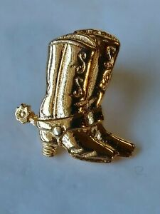 Avon Pair Of Cowboy Boots With Spurs Lapel Hat Jacket Pin Gold Color Metal