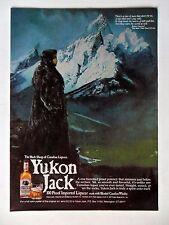 1980 Print Ad Yukon Jack Blended Canadian Whisky ~ Snowy Mountains Fur Coat ART