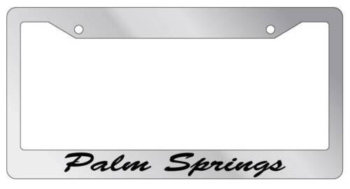 Chrome METAL License Plate Frame Palm Springs Cursive Auto Accessory 2497