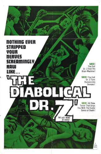 The Diabolical Dr Z Miss Muerte Cult Horror movie poster print 2 1966