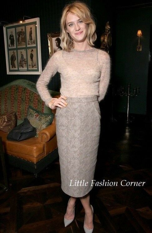 New      MAX MARA  Turtledove Wool&Lace Skirt in Jersey, size M  from RUNWAY