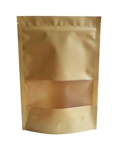 Image Is Loading 30 Pack Kraft Paper Bag With Transparent Window