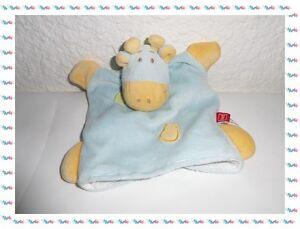 H-Doudou-Semi-Plat-Marionnette-Vache-Girafe-Bleu-Jaune-Vert-Tex-Baby