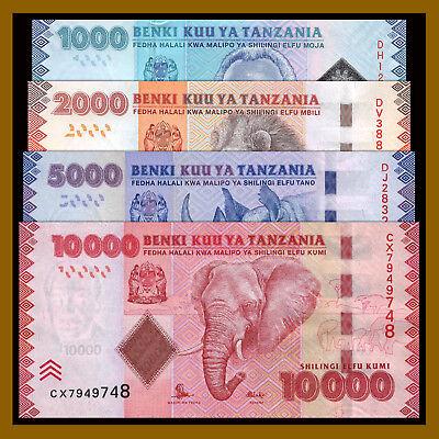 2010-2015 P-41//42//43//44 Unc Tanzania 1000 2000 5000 10000 Shillings 4 Pcs Set