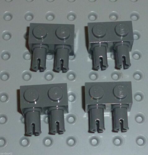 BM123 30526 BRICK MODIFIED 1 x 2 with 2 Pins DARK BLUISH GREY x 8 LEGO