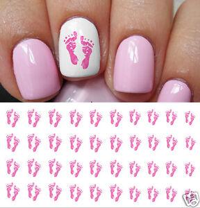 Pink Baby Footprints Nail Art Waterslide Decals Great Baby Shower