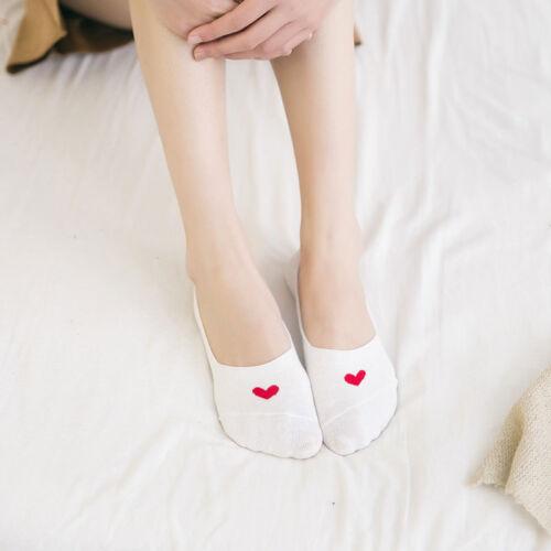 2 Pair Fashion Non-slip Love Heart Hidden Stealth Sock Cotton Boat Shallow Socks