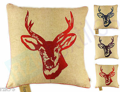 Stag Head Cushion Cover, Designer Linen Scatter Cushion By CL Home, 43x43 cm