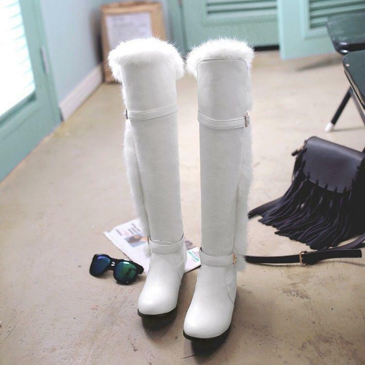 2019 2019 2019 Ladies Mid Block Heel Fur Round Toe Buckle Pull On Knee High Casual Boots 626869